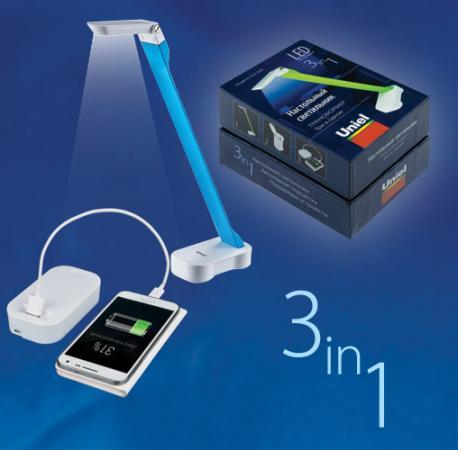 Настольная лампа (UL-00000795) Uniel TLD-530 Blue-White/LED/200Lm/6400K/PB marsing diy t15 3w 200lm 1 cob led white light car indicator reverse lamp dc 12v 2 pcs
