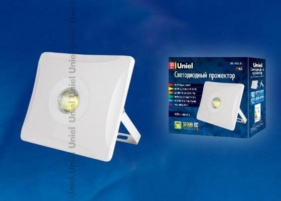Прожектор светодиодный (UL-00001044) Uniel 30W 4000K ULF-F11-30W/NW IP65 180-240В White прожектор светодиодный ul 00001849 uniel 30w 4000k ulf f15 30w nw ip65 185 240в silver