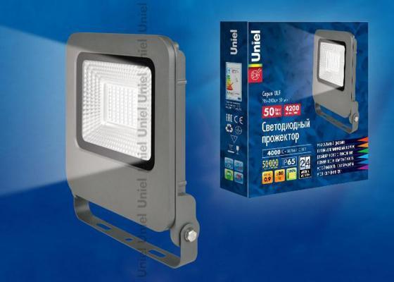Прожектор светодиодный (UL-00002071) Uniel 50W 4000K ULF-F17-50W/NW uniel ulo cl120 40w nw silver
