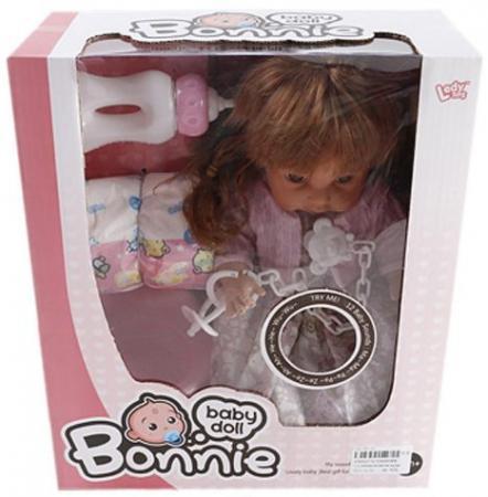 купить Кукла Shantou Gepai Bonnie 30 см со звуком писающая пьющая LD9908B по цене 700 рублей