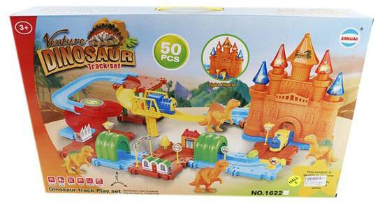Трек Shantou Gepai Замок с динозаврами, свет, звук, поезд 1шт., 50 деталей трек shantou gepai волшебный поезд свет звук поезд 1шт аксессуары