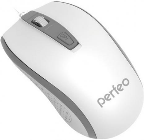 лучшая цена Мышь проводная Perfeo PF-383-OP-W/GR белый серый USB