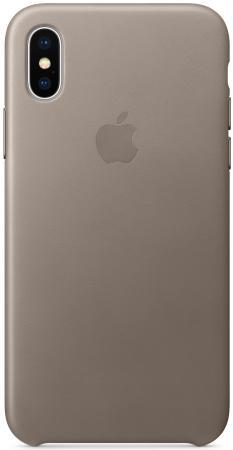 Фото - Накладка Apple Leather Case для iPhone X платиново-серый MQT92ZM/A чехол apple leather case для iphone x платиново серый