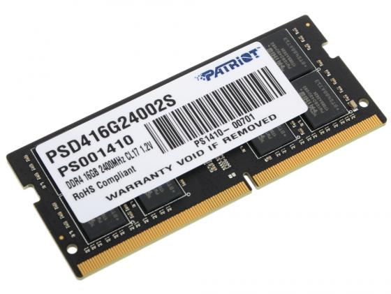 Оперативная память для ноутбуков SO-DDR4 16Gb PC4-19200 2400MHz DDR4 DIMM Patriot PSD416G24002S модуль памяти patriot memory ddr4 so dimm 2400mhz pc4 19200 cl17 4gb psd44g240041s