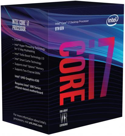 Процессор Intel Core i7-8700K 3.7GHz 12Mb Socket 1151 v2 BOX без кулера процессор intel core i7 8700 3 2ghz 12mb socket 1151 v2 oem