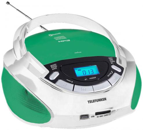 Магнитола Telefunken TF-CSRP3492B белый/зеленый telefunken tf csrp3480 белый