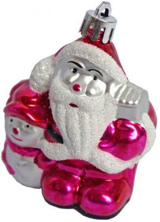 Елочные украшения Новогодняя сказка Дед Мороз 8 см 3 шт розовый пластик 972310 snowlife набор из 6 шаров елочных дед мороз диам 75 мм