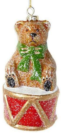 Елочные украшения Новогодняя сказка Мишка с барабаном 12.5 см 1 шт разноцветный пластик