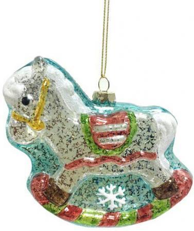 Елочные украшения Новогодняя сказка Лошадка 11 см 1 шт белый пластик 972879