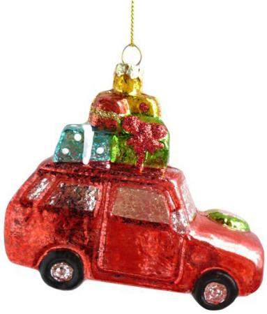 Елочные украшения Новогодняя сказка Машинка 11.5 см 1 шт красный пластик 972883 елочные украшения sia елочная игрушка