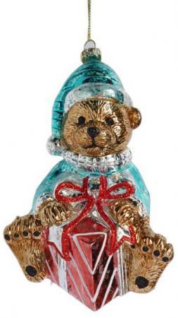 Елочные украшения Новогодняя сказка Мишка с подарком 13 см 1 шт пластик 972878 елочные украшения новогодняя сказка мишка голубой 8 5 см 4 шт пластик 97714