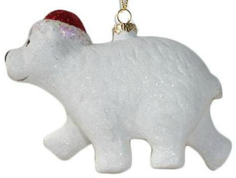 Елочные украшения Новогодняя сказка Северный мишка 13 см 1 шт белый пластик