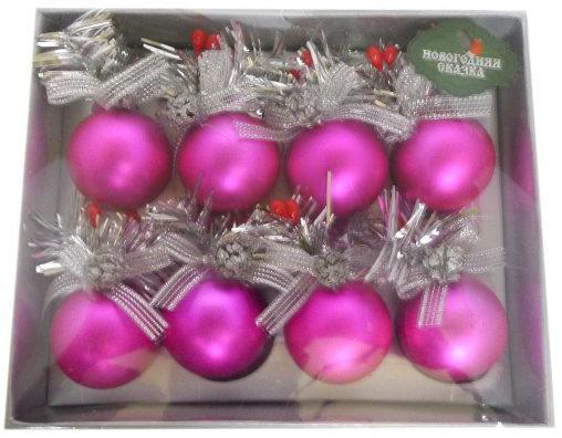 Набор шаров Новогодняя сказка 973082 4 см 8 шт розовый пластик набор шаров стекло 80мм 6шт розовый