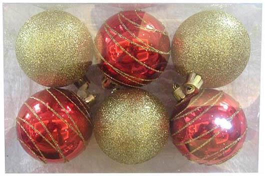 Набор шаров Новогодняя сказка красно-золотистые 6 см 6 шт пластик 972908