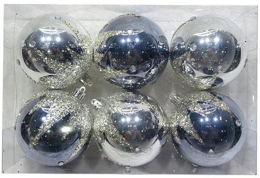 Набор шаров Новогодняя сказка 972926 6 см 6 шт серый пластик набор шаров новогодняя сказка 971970 синий 6 см 6 шт стелко