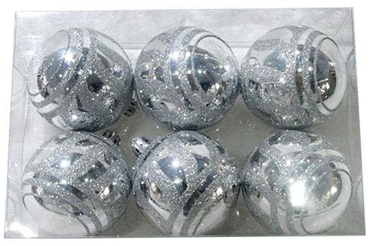 Набор шаров Новогодняя сказка 972929 6 см 6 шт серебро пластик