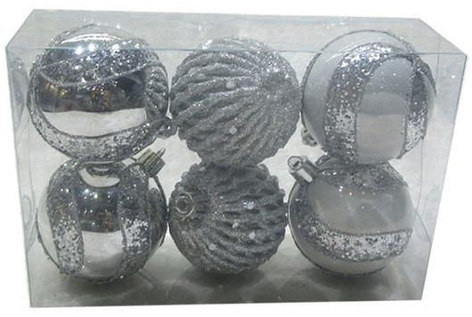 Набор шаров Новогодняя сказка 972927 6 см 6 шт серебро пластик