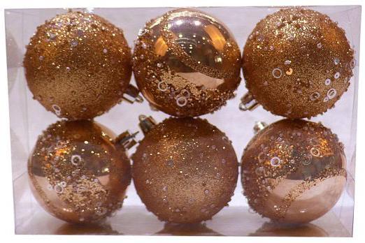 Набор шаров Новогодняя сказка 972934 7 см 6 шт розовое шампанское пластик