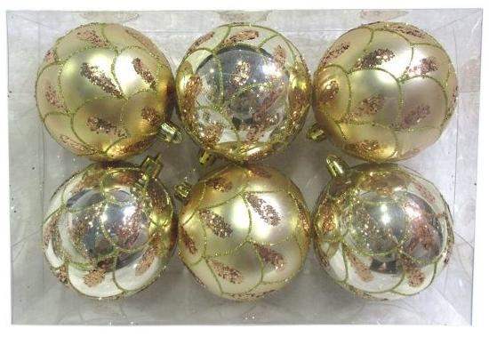 Набор шаров Новогодняя сказка 972887 8 см 6 шт золотой пластик