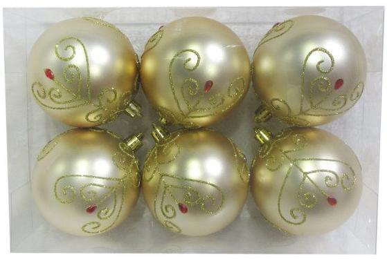 Набор шаров Новогодняя сказка 972886 8 см 6 шт золотой пластик метелица набор новогодних шаров 6 шт