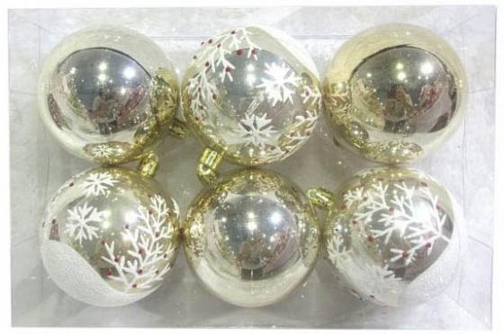 Набор шаров Новогодняя сказка 972888 8 см 6 шт золотой пластик набор шаров новогодняя сказка 971970 синий 6 см 6 шт стелко