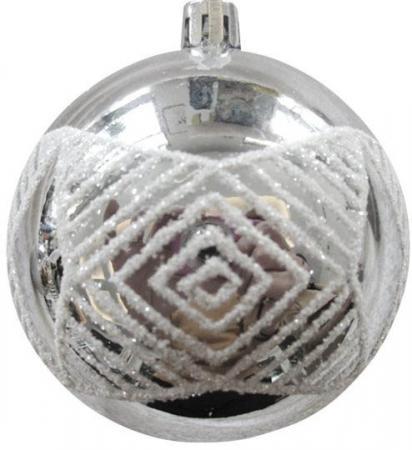 Набор шаров Новогодняя сказка 972932 8 см 6 шт серебро пластик