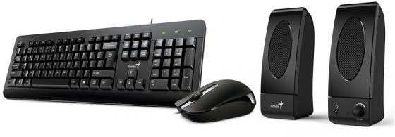 Комплект Genius KMS U130 черный USB клавиатура + мышь + колонки kms 3 7v 3000mah rechargeable 18650 lithium battery