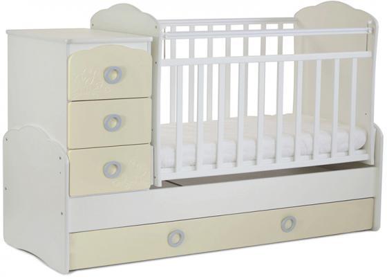 Кровать-трансформер СКВ-9 Птички (бежевый-белый) кроватка скв березка 120119 бежевый