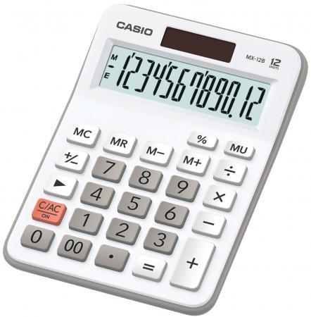 Калькулятор бухгалтерский CASIO MX-12B-WE 12-разрядный белый калькулятор casio mx 12b компакт настольный