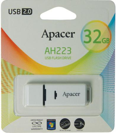 Флешка USB 32Gb Apacer Flash Drive AH223 AP32GAH223W-1 серый apacer ah 352 32gb usb 3 0