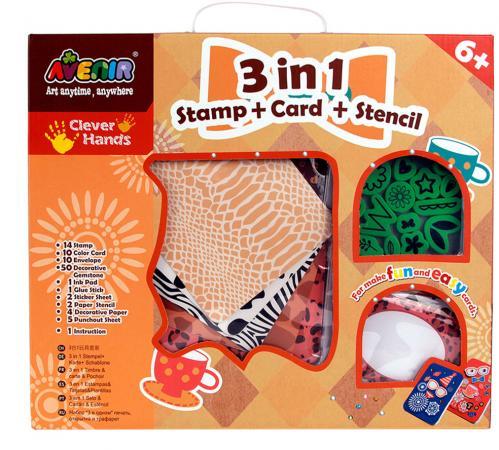Набор для творчества Avenir 3 в 1 «Штампы, карточки, трафареты» CH1032 от 6 лет набор для творчества ravensburger мода мандала 2 в 1 от 6 лет