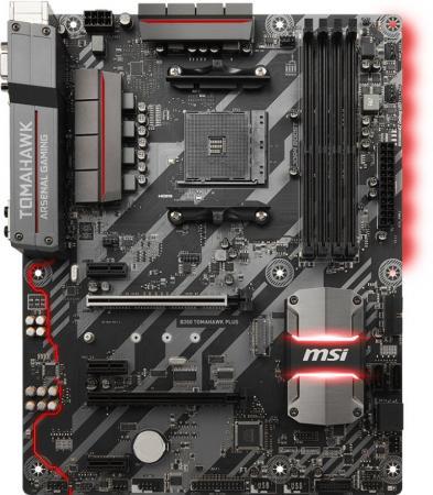 Материнская плата MSI B350 TOMAHAWK PLUS Socket AM4 AMD B350 4xDDR4 2xPCI-E 16x 3xPCI-E 1x 4xSATAIII ATX Retail материнская плата msi z270 sli plus socket 1151 z270 4xddr4 3xpci e 16x 3xpci e 1x 6xsataiii atx retail