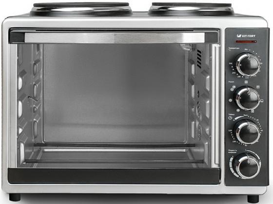 Мини-печь KITFORT KT-1703 серебристый чёрный цена