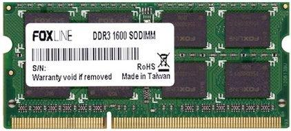Оперативная память для ноутбука 4Gb (1x4Gb) PC3-12800 1600MHz DDR3 SO-DIMM CL11 Foxline FL1600D3S11SL-4GH оперативная память 8gb pc3 12800 1600mhz ddr3 dimm foxline fl1600d3u11l 8g