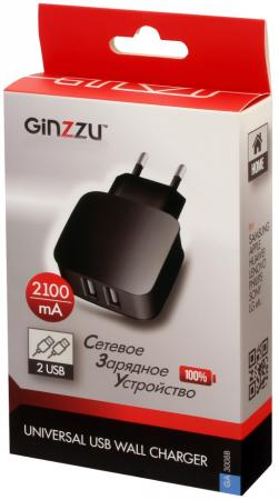 Сетевое зарядное устройство GINZZU GA-3008B 2.1A 2 х USB черный сетевое зарядное устройство ginzzu ga 3311ub 2 х usb 3 1а черный