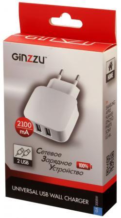 Сетевое зарядное устройство GINZZU GA-3008W 2.1A 2 х USB белый сетевое зарядное устройство ginzzu ga 3311ub 2 х usb 3 1а черный