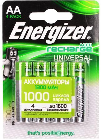 Аккумуляторы 1300 mAh Energizer Universal AA 4 шт 638590/E300322101 аккумуляторы energizer power plus 2500 mah d 2 шт e300322000 635675
