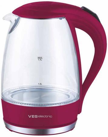 Чайник VES Electric 2006-R 2200 Вт красный 1.7 л стекло 1180 30