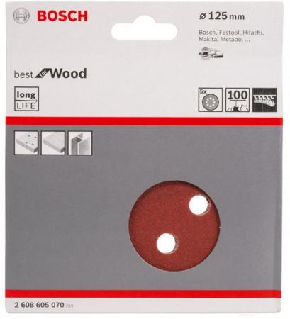 Набор шлифлистов Bosch O125 мм K100 B.f.W+P 5шт 2608605070 набор шлифлистов bosch 2608606139