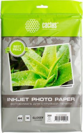 Фотобумага Cactus CS-GA420050ED A4 200г/м2 50л белый глянцевая для струйной печати цена