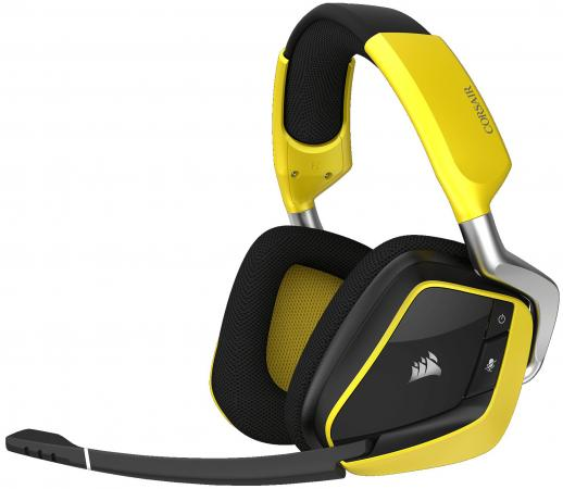 Игровая гарнитура беспроводная Corsair Gaming VOID PRO RGB Wireless SE желтый черный CA-9011150-EU наушники с микрофоном corsair void pro rgb wireless white [ca 9011153 eu]