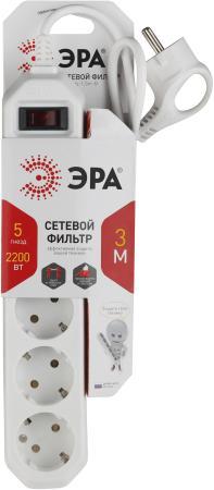Сетевой фильтр Эра USF-5es-3m-W 5 розеток 3 м эра usf 5es 1 5m w white сетевой фильтр
