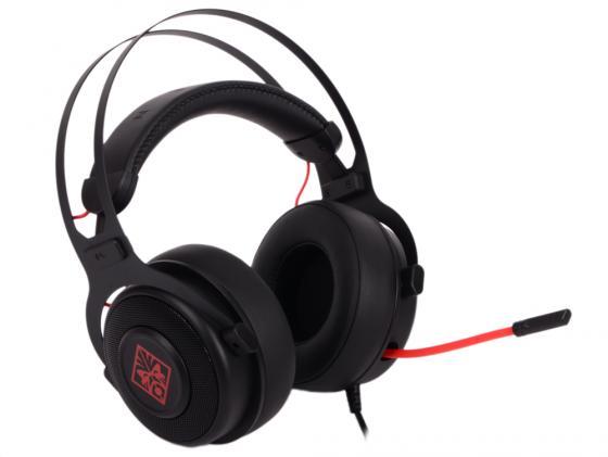 Игровая гарнитура проводная HP Omen 800 черный красный 1KF76AA игровая гарнитура проводная marvo h8321 черный красный