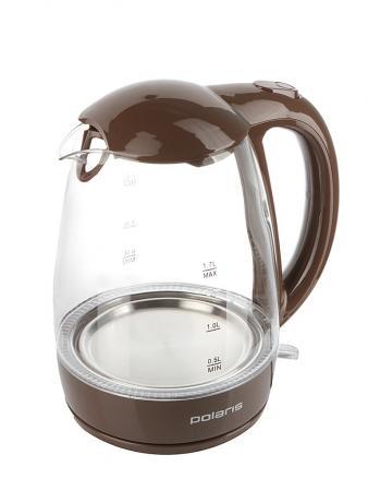 цена Чайник электрический Polaris PWK 1768CGL 2200 Вт шоколад 1.7 л стекло