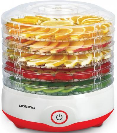Сушилка для овощей и фруктов Polaris PFD 2105D красный белый дрель jonnesway jad 6234 с реверсом 1800 об мин 113л м 47105