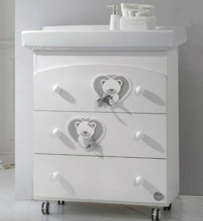 Пеленальный комод с ванночкой Baby Expert Bon Duetto (белый/серый)