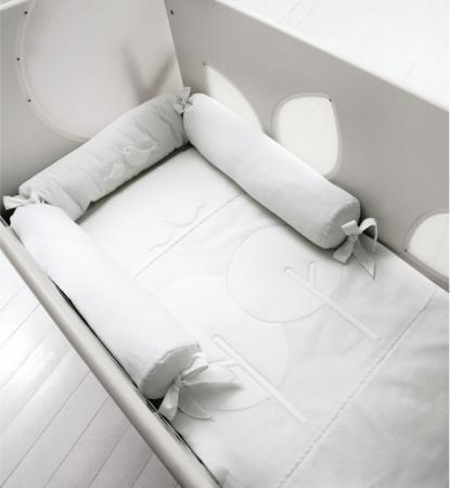 Комплект белья для кроватки с окошечками Bosco белый цена