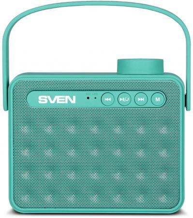 АС SVEN PS-72, mint, акустическая система 2.0, мощность 2x3 Вт (RMS), Bluetooth, FM, USB, microSD, ручка, встроенный аккумулятор)