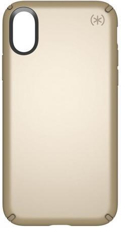 Чехол Speck Presidio Metallic для iPhone X. Материал пластик/металл. Цвет темно-желтый. Дизайн Pale Yellow Gold Metallic/Camel Brown. цена