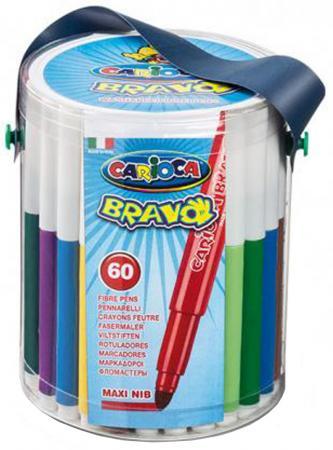 Набор фломастеров CARIOCA BRAVO, 60 шт., в пластиковом ведерке на лямке